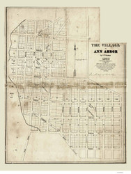 Ann Arbor 1836 Stratton - Old Map Reprint - Michigan/Cities
