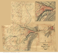 Harpers Ferry 1864 Unknown - Old Map Reprint - West Virginia Cities