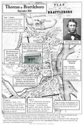Thoreau in Brattleboro  - 1856 - Vermont - Old Map Reprint VT Specials