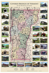 Vermont Covered Bridges - 2014 - Vermont- Old Map Reprint VT Specials