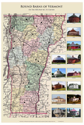 Vermont Round Barns - 2014 - Vermont- Old Map Reprint VT Specials