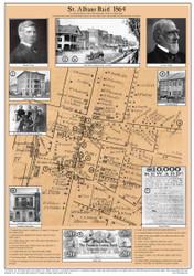 St Albans Raid - 1864 - Vermont- Old Map Reprint VT Specials