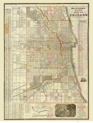 Chicago 1862 Blanchard - Old Map Reprint -  Illinois Cities