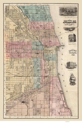 Chicago 1868 Blanchard & Cram - Old Map Reprint -  Illinois Cities
