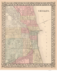 Chicago 1868 Mitchell - Old Map Reprint -  Illinois Cities