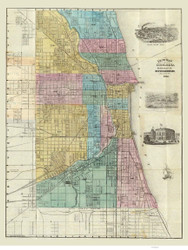 Chicago 1868 Blanchard - Old Map Reprint -  Illinois Cities