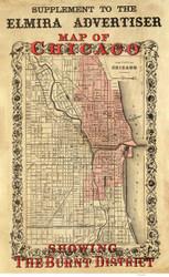 Chicago-Burnt District 1871 Elmira Advertiser - Old Map Reprint -  Illinois Cities