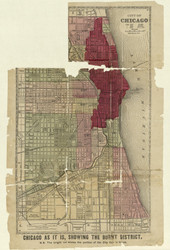 Chicago-Burnt District 1871 Watson - Old Map Reprint -  Illinois Cities