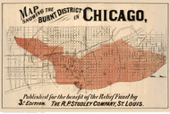 Chicago Burnt District ca. 1872 Studley - Old Map Reprint -  Illinois Cities