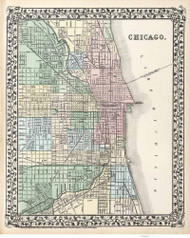 Chicago 1874 Mitchell - Old Map Reprint -  Illinois Cities