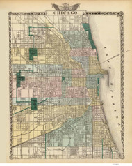 Chicago 1876 Warner Beers - Old Map Reprint -  Illinois Cities