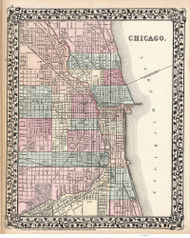 Chicago 1877 Mitchell - Old Map Reprint -  Illinois Cities