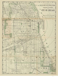 Chicago 1878 Rand, McNally  - Old Map Reprint -  Illinois Cities