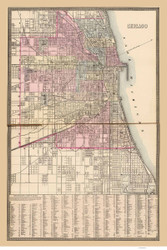 Chicago 1880 Mitchell - Old Map Reprint -  Illinois Cities