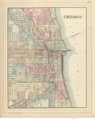 Chicago 1885 Mitchell - Old Map Reprint -  Illinois Cities