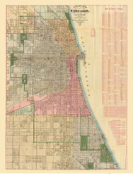 Chicago 1886 Blanchard - Old Map Reprint -  Illinois Cities