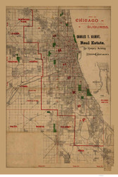 Chicago 1890 Gilbert - Old Map Reprint -  Illinois Cities