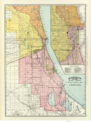 Chicago Railroad 1897 Rand, McNally  - Old Map Reprint -  Illinois Cities