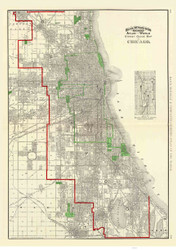 Chicago 1897 Rand, McNally  - Old Map Reprint -  Illinois Cities