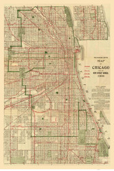 Chicago 1906 Blanchard - Old Map Reprint -  Illinois Cities