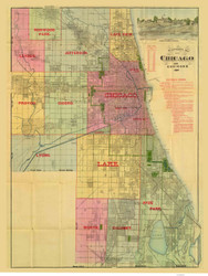 Chicago Area 1887 Blanchard - Old Map Reprint -  Illinois Cities