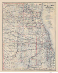 Chicago Area 1897 Blanchard - Bicycle - Old Map Reprint -  Illinois Cities