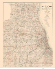 Chicago Area 1898 Askevold - Bicycle - Old Map Reprint -  Illinois Cities