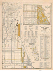 Chicago Columbian Exposition (Tribune) 1893 Rand, McNally  - Old Map Reprint -  Illinois Cities