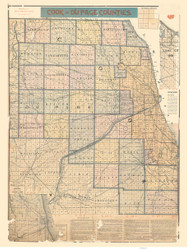 Cook and DuPage Counties 1897 Blanchard - Old Map Reprint -  Illinois Cities