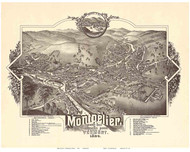 Montpelier, Vermont 1884 Bird's Eye View
