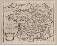 France 1681 Simple Map with Provinces and Major Towns - Old Map Reprint