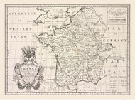 France 1700 Simple in English with Provinces, Towns & Rivers - Old Map Reprint