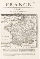 France 1701 Simple from an English book - Old Map Reprint