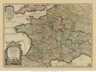 France 1724 Detailed  with provinces outlined in colors - Map Only - Old Map Reprint