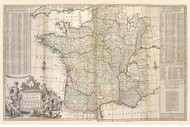 France 1736 English, detailed with roads and provences outlined in color - Old Map Reprint