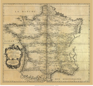 France 1744 Triangulations for accurate mapping - Map Only - Old Map Reprint