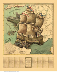 France 1795  - France As a Ship - Map Only - Old Map Reprint
