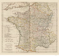 France 1814 Circles and departments - Old Map Reprint