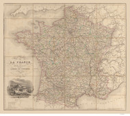 France 1840 Traveler's Guide for Roads - Old Map Reprint