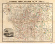 France 1848 Postal Routes - Old Map Reprint