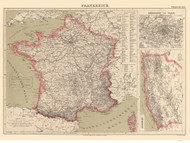 France 1871 German with topography -- Algeria - Old Map Reprint