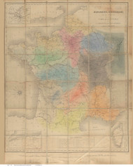 France 1875 Historical Monuments  - Old Map Reprint