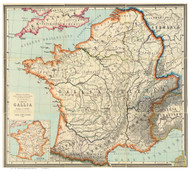 France 1887 Latin Gallia - Old Map Reprint
