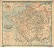 France 1906 Detailed Railroad Map with stations and towns - Old Map Reprint