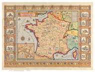 France 1929 Picture Map - Old Map Reprint