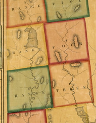 Range 3 & 4, Maine 1858 Old Town Map Custom Print - Oxford Co.
