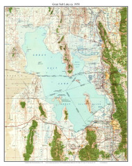 Great Salt Lake 1958 - Custom USGS Old Topo Map - Utah