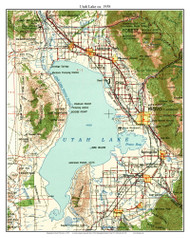 Utah Lake 1958 - Custom USGS Old Topo Map - Utah