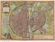 Paris, France 1572 Braun - Old Map Reprint