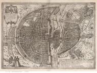Paris, France 1575 Braun - Old Map Reprint